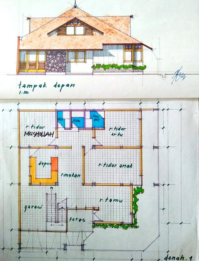 Contoh desain rumah islami karya Ir. Budi Fathony, MTA dosen Arsitektur ITN Malang (1)