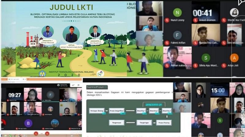 Tim Sukses Pemuda ITN Malang presentasi pada ajang Lomba Karya Tulis Ilmiah (LKTI) Semarak Bidikmisi Prestatif (SBMP) Kamadiksi Undip 2020