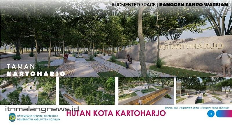 Desain Hutan Kota Kartoharjo yang dilengkapi dengan jogging track, panggung, ramp panorama, dan tribun