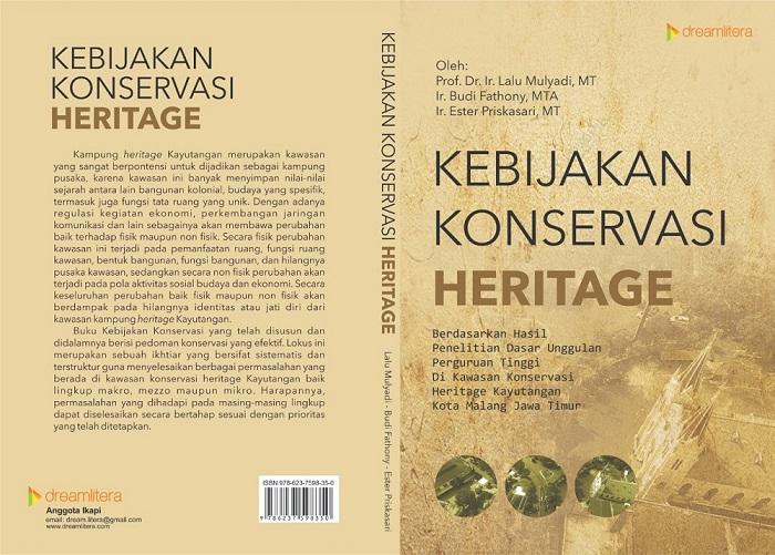 """Cover buku """"Kebijakan Konservasi Heritage"""" Penerbit Dream Litera Buana,"""