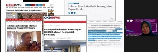 Feny Arafah, ST MT dosen Teknik Geodesi ITN Malang dalam kegiatan Geodesy Goes to School 2021 secara virtual menyampaikan, bahwa Indonesia kekurangan tenaga informasi geospasial